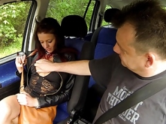 Immature Tattoed Girl Gets down and dirty in Car with Stranger for MONEY