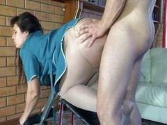 Charming breasty brunette rides sizeable plug toy