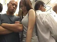 Astonishing Asiatic chick with bushy snatch gets fucked in the train