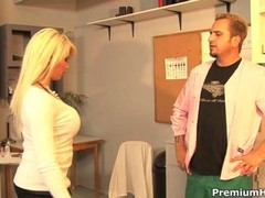Large jugs Brooke Haven blowing up her doctor and besides nasty banged