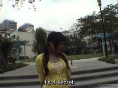 Subtitled Japanese public bareness striptease in Tokyo