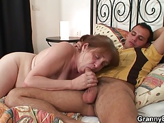 Injured old granny healed by young dick