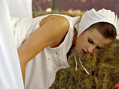 Amish girl gets bred in a barn