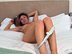 French Chloe flaunting on the bed