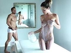 Badkamer, Grote mammen, Bruinharig, Erotisch, Hardcore, Mager, Lang, Tieten likken