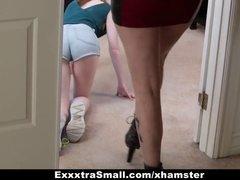 Tall Busty Red-Head Fucks & Dominates Tiny Teen With Strapon