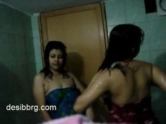 Indian two hot hostel babes enjoy dancing in shower getting soaked