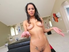 Busty Latina with big tits is getting cumshot in her cunt