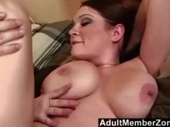 AdultMemberZone - Busty redhead shakes her boobs for a big load .