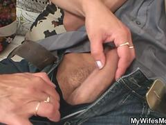 Cock hungry mother in law gets busted riding