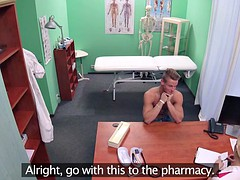 Sexy nurse in stockings getting a big cumshot after sex