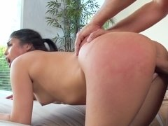A Latina with a sexy pussy is giving a blow job to her lover close up