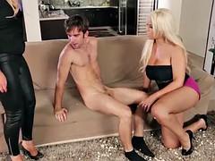 Bigtitted CFNM femdoms banging cheeky voyeur