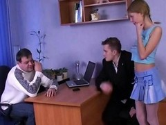Thin russian broad with sizeable tits fucked on table