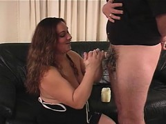 Curvaceous lady uses her skillful hands to take a big dick to orgasm