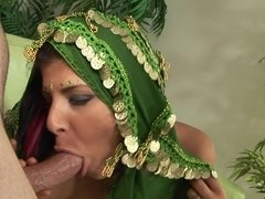 A sexy Indian princess is getting her veil off while sucking cock
