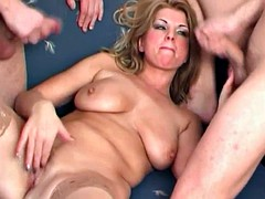 Two lucky guys banging hot milf