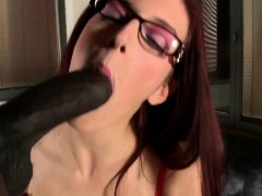 Redhead glamour babe in spex assfucked by BBC