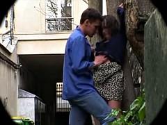 Chica, Francés, Al aire libre, Bajo la falda, Voyeur