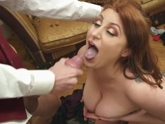 Cheating redhead stretched by a massive dick