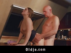 Pornstar gets facial cumshot sucks grandpa cock and gets ass