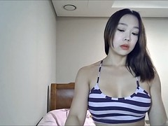 Korean girl caressing her legs for my request :)