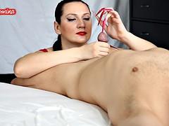 Red and Pink Nails Handjob Insertion