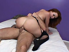 Round ass slut leaves her stockings on when fucked