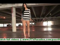 Marletta dilettante brunette with natural titties walking naked outdoors & toying love hole