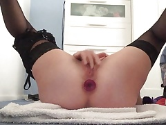 Fingering myself in high heels and stockings to big squirts