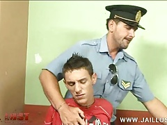 Cute boy taken into custody by an older gay cop