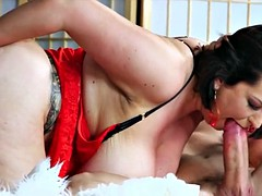 Thick mature big tits takes two cocks