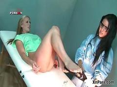 Aroused doctor handballing her blonde female part3