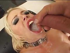 Blonde Pornstars drinking cum