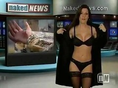 Sexy anchor on the Nude News strips down while reporting