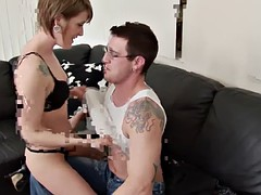Short haired slut licks a cock and then fuck wildly