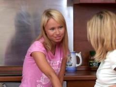 Adorable blonde lesbys kissing & fingering adore hole in the kitchen & having lesby adore & having fabulous time