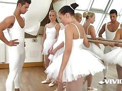 3 slutty ballerinas get fucked by instructor