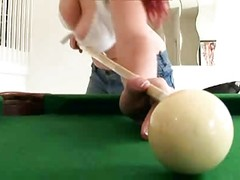 Bigtitted Redhead Playing Pool