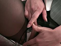 Three office ladies are foot fucking the weirdo's erect peck