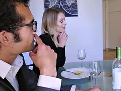 Husbands boss cock suck by Natalie Starr for promotion