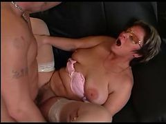 Granny In Glasses And also Stockings Give blowjob And also Make love