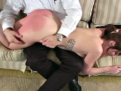 Cute brunette model spanked and paddled