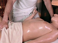 Massage babe doggystyled by her masseur