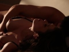 Beautiful girl and BF practice spoon sex position on the sofa
