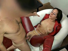 Sexy German babe in red leather