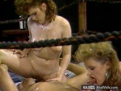 Oiled wrestling girls with huge jugs gets screwed hard by coach in hot three-way