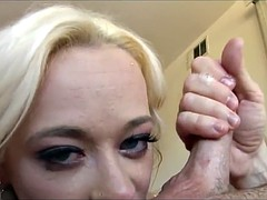 Beautiful Blonde RB Deepthroats 2 Cocks