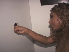Dirty Black Dilettante Gives head Penis From Her Knees At Glory Hole
