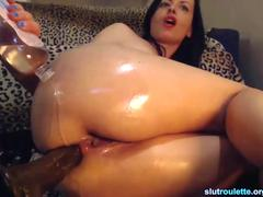 Sexy brunette gets ass pounded by fuck machine